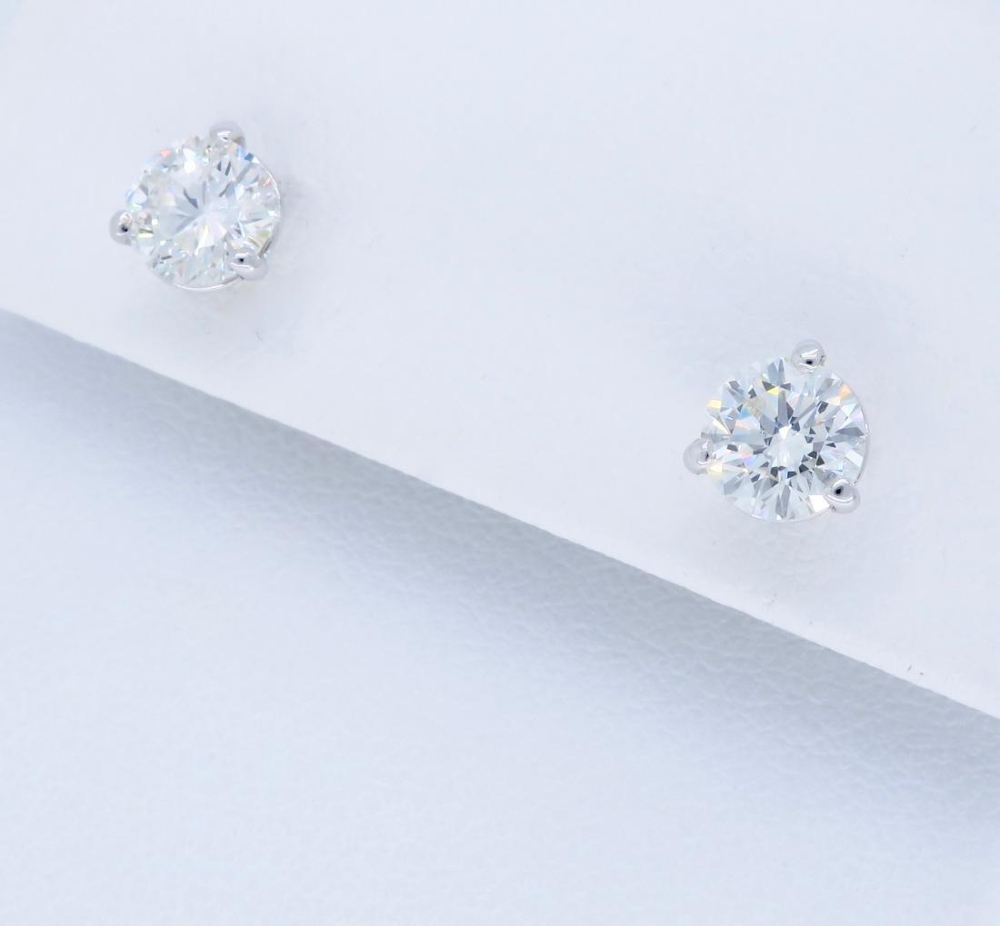 14KT White Gold 1.07ctw Diamond Earrings - 2
