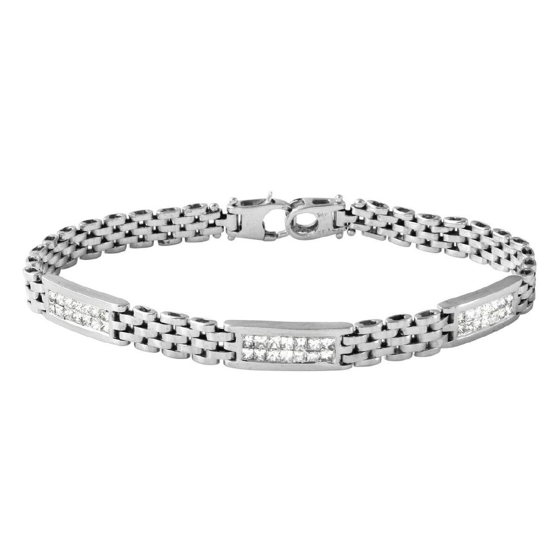 14KT White Gold 1.05ctw Diamond Bracelet