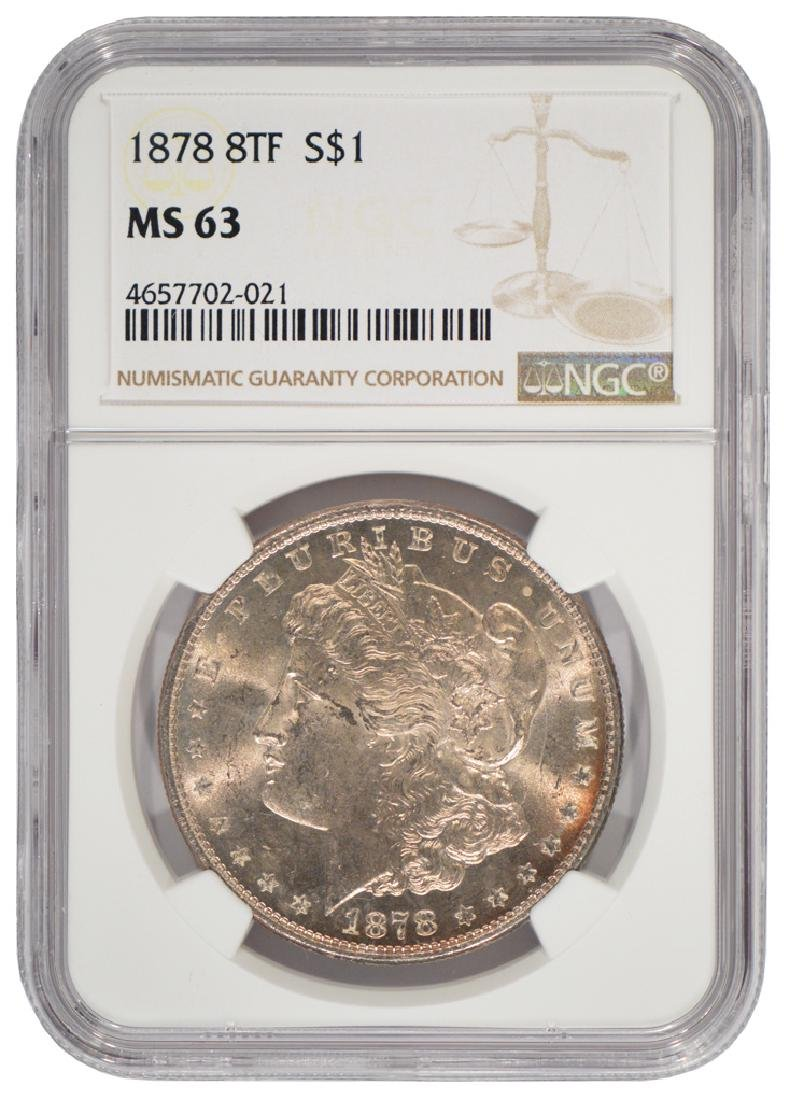 1878 8TF $1 Morgan Silver Dollar Coin NGC MS63
