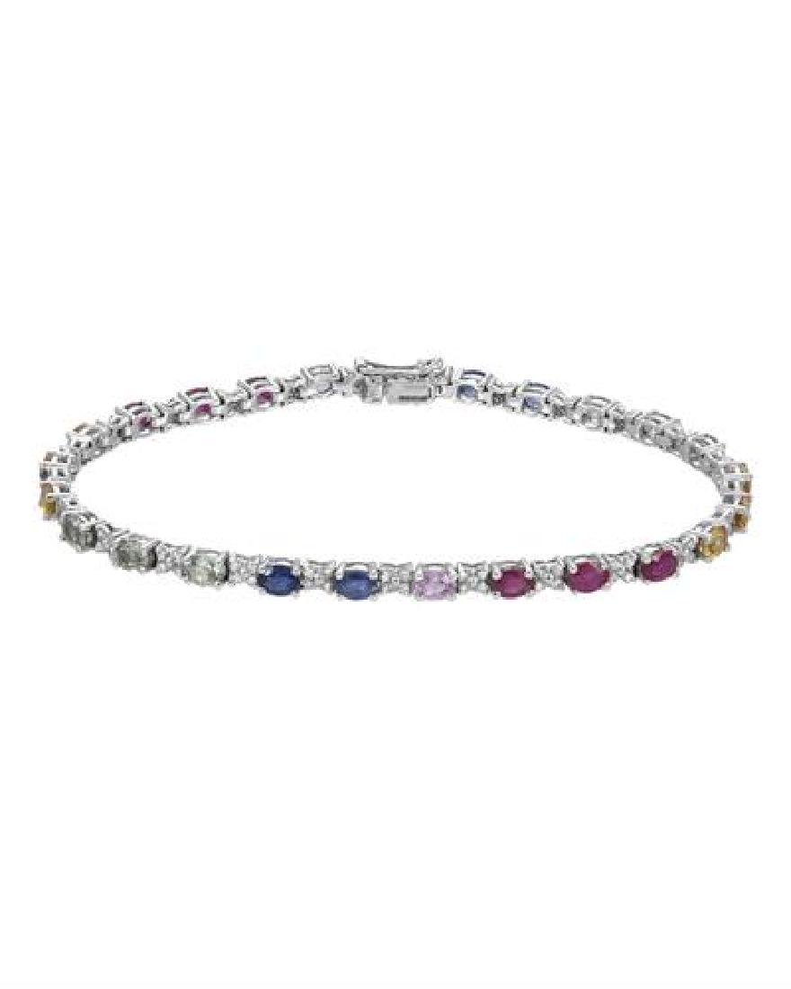 14KT White Gold 6.23ctw Multi Color Sapphire and
