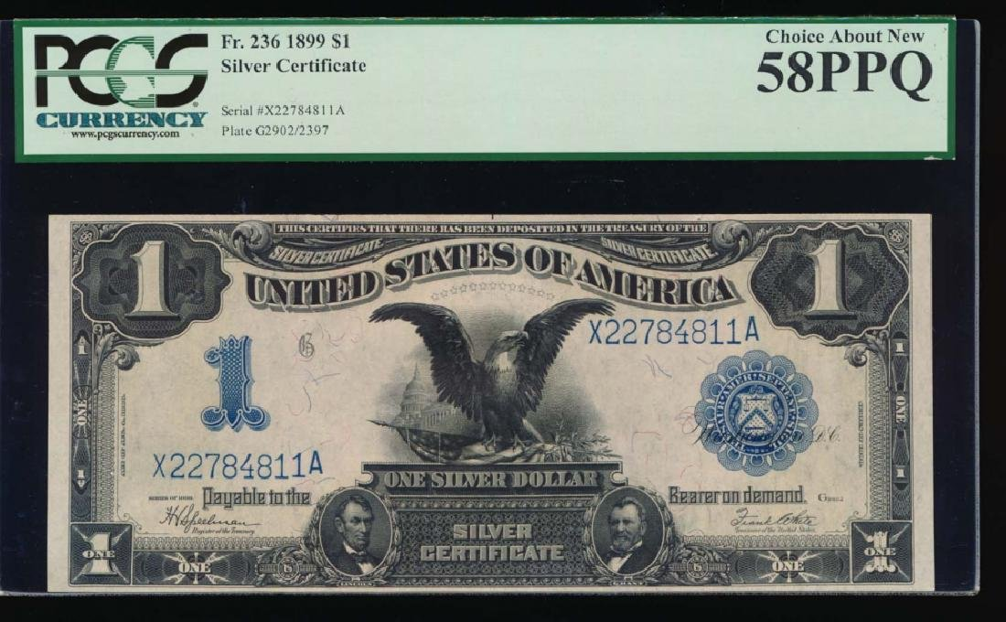 1899 $1 Black Eagle Silver Certificate PCGS 58PPQ
