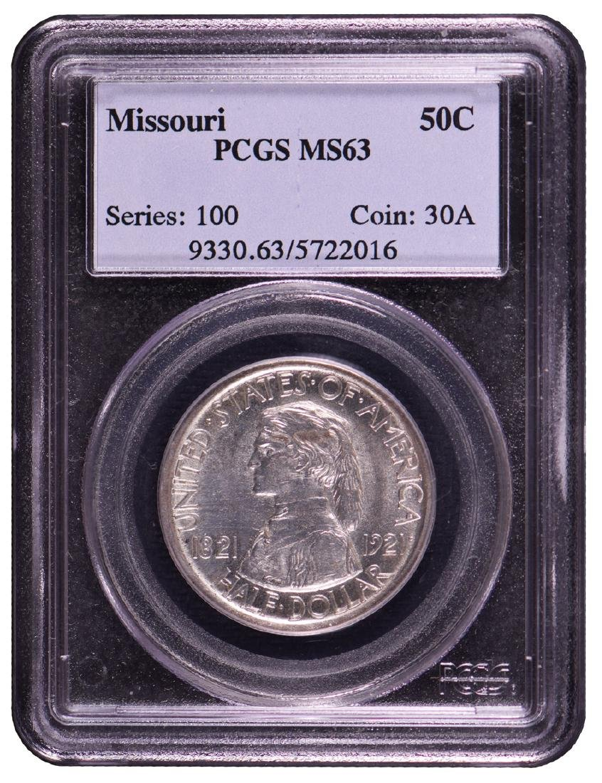 1921 Missouri Commemorative Half Dollar Coin PCGS MS63