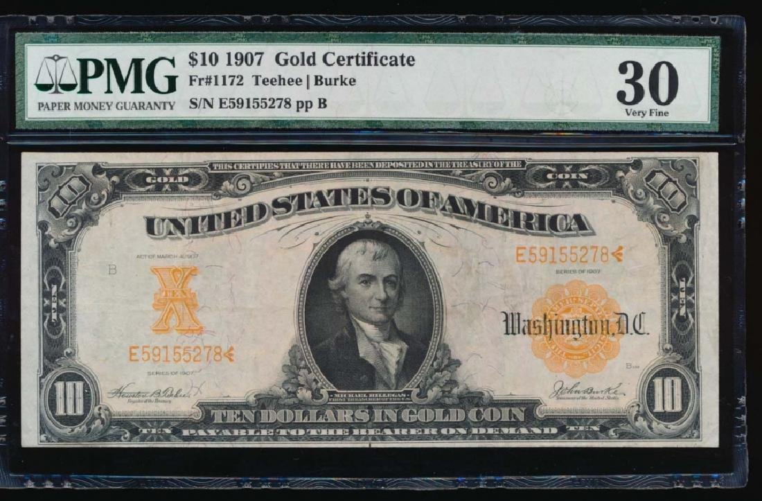 1907 $10 Gold Certificate PMG 30 Very Fine