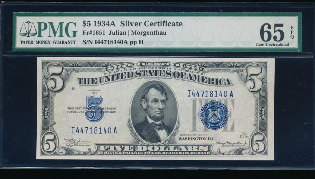 1934A $5 Silver Certificate PMG 65EPQ