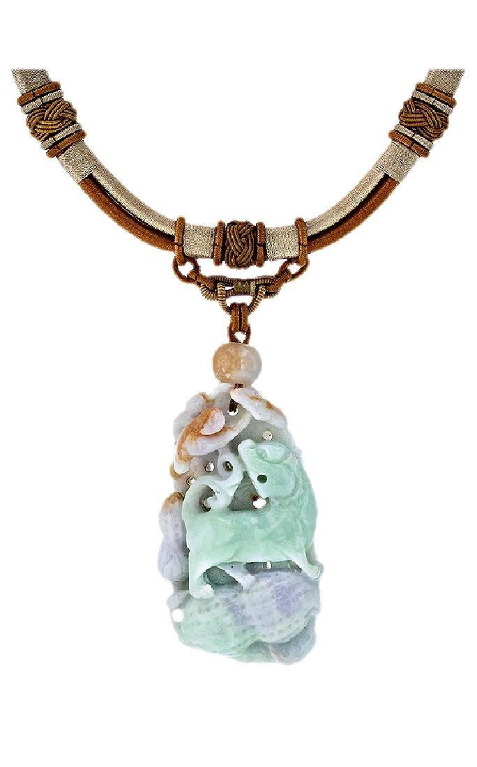 GIA Carved Jadeite Pendant