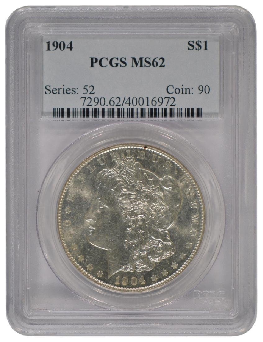 1904 $1 Morgan Silver Dollar Coin PCGS MS62