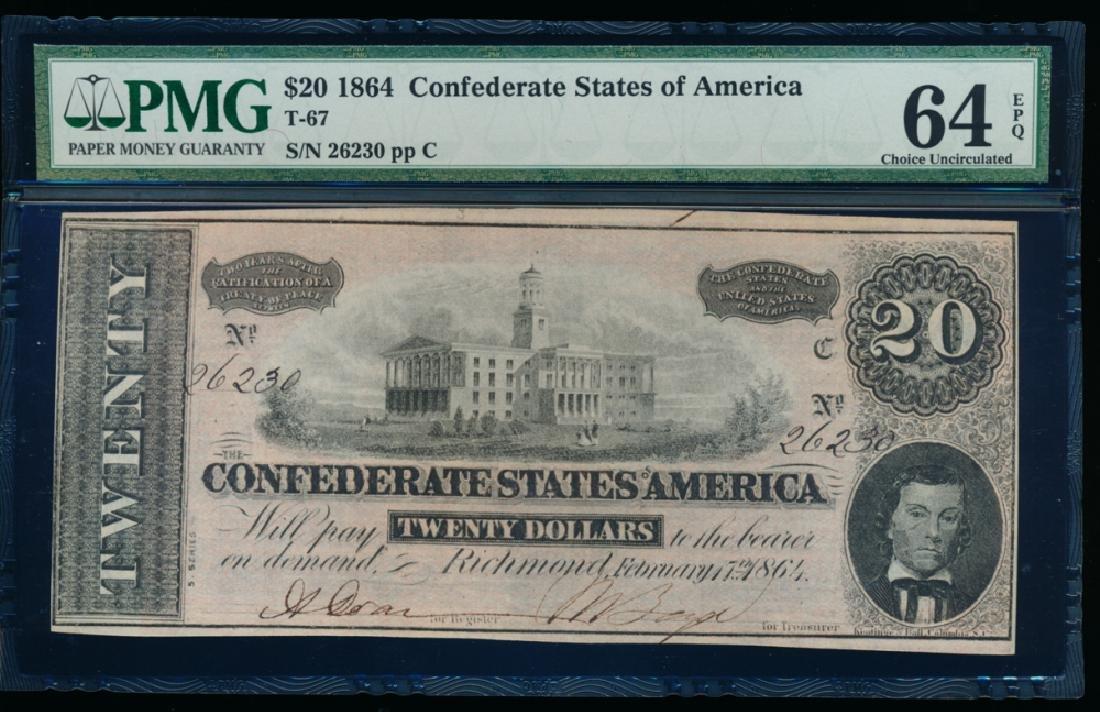1864 $20 Confederate States of America Note PMG 64EPQ