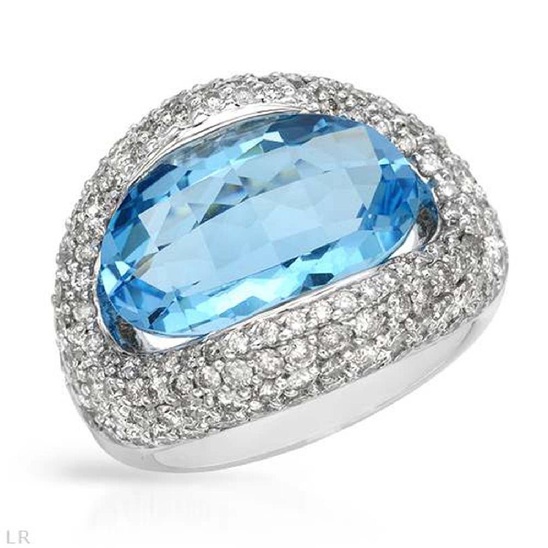 14KT White Gold 8.58ct Blue Topaz and Diamond Ring