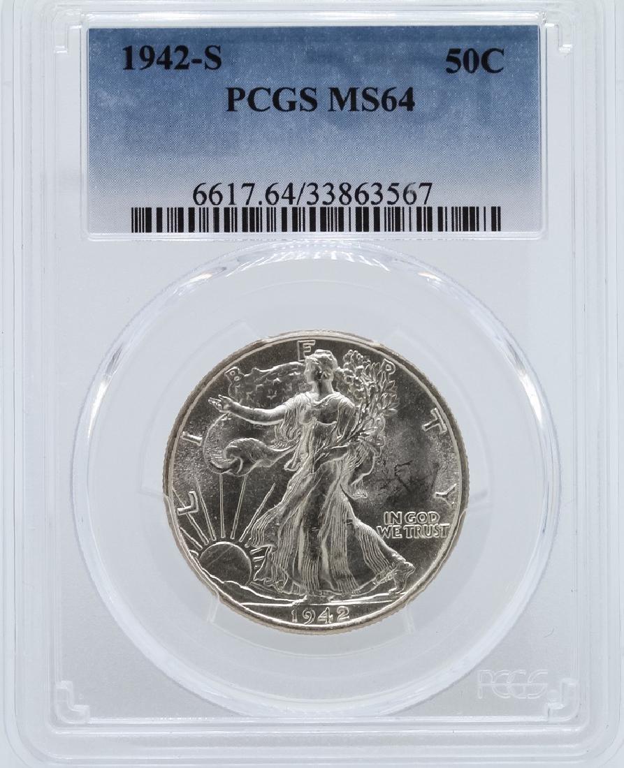 1942-S Walking Liberty Half Dollar Coin PCGS MS64