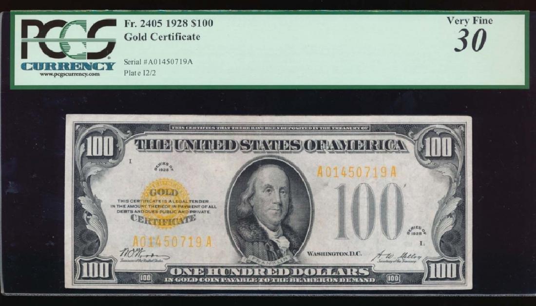 1928 $100 Gold Certificate PCGS 30