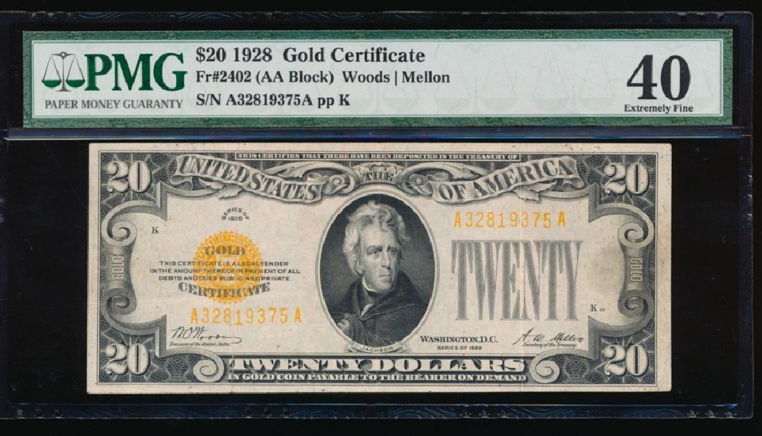 1928 $20 Gold Certificate PMG 40