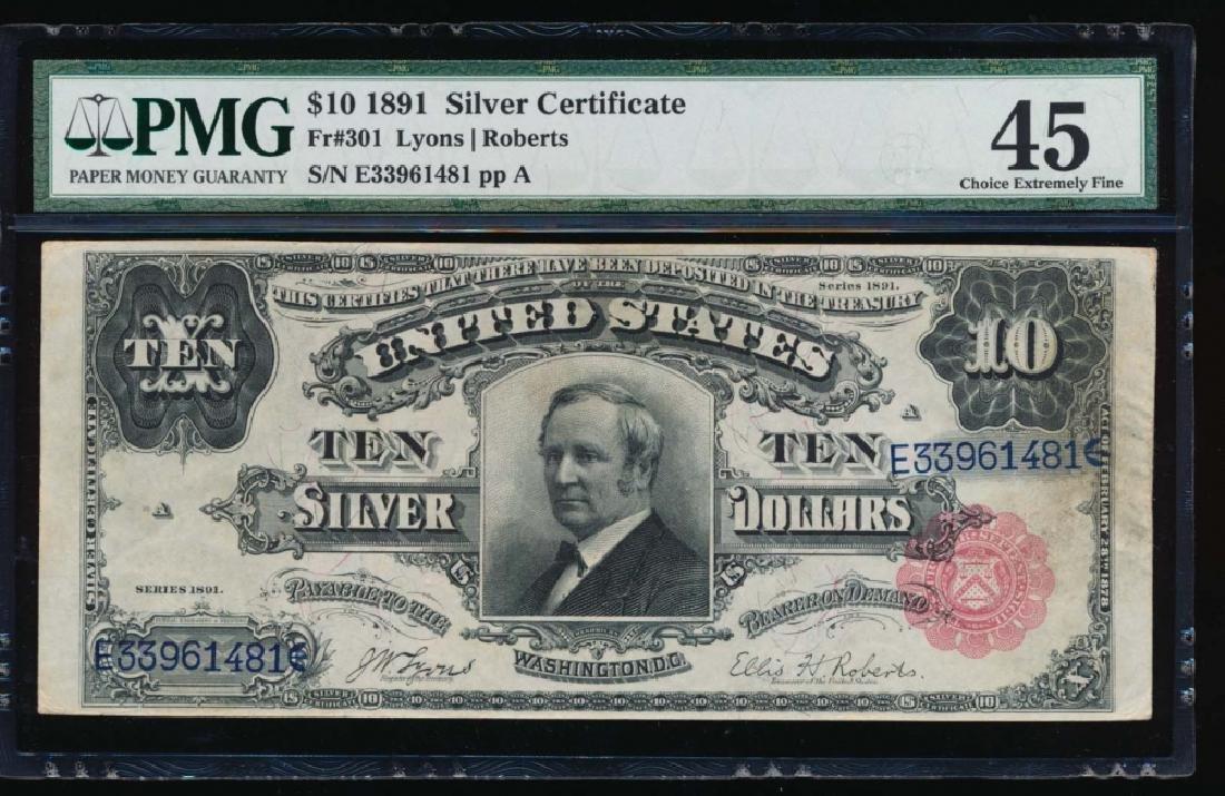 1891 $10 Silver Certificate PMG 45