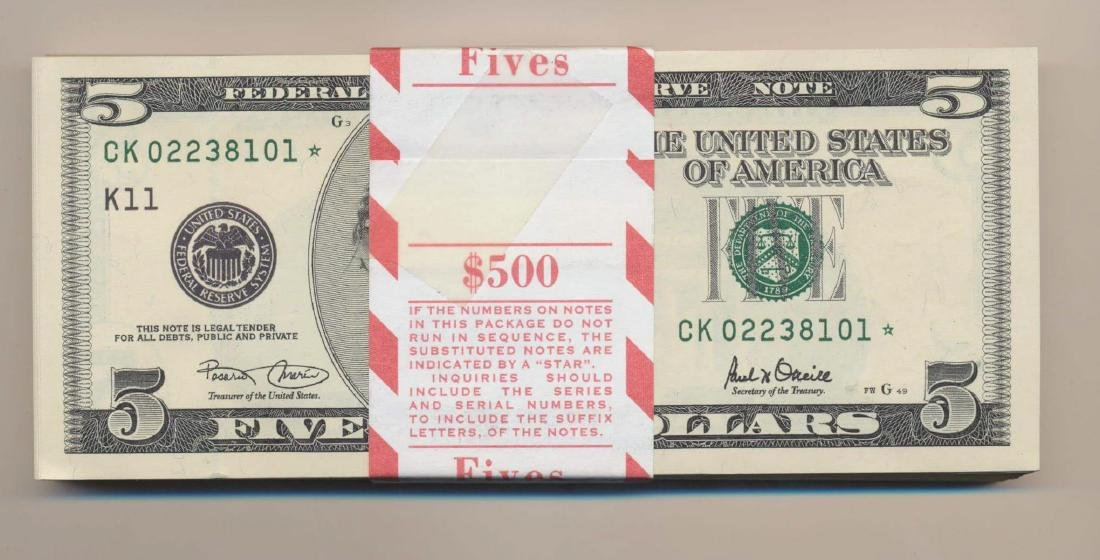 Lot of 100 Consecutive 1999 $5 Dallas Federal Reserve