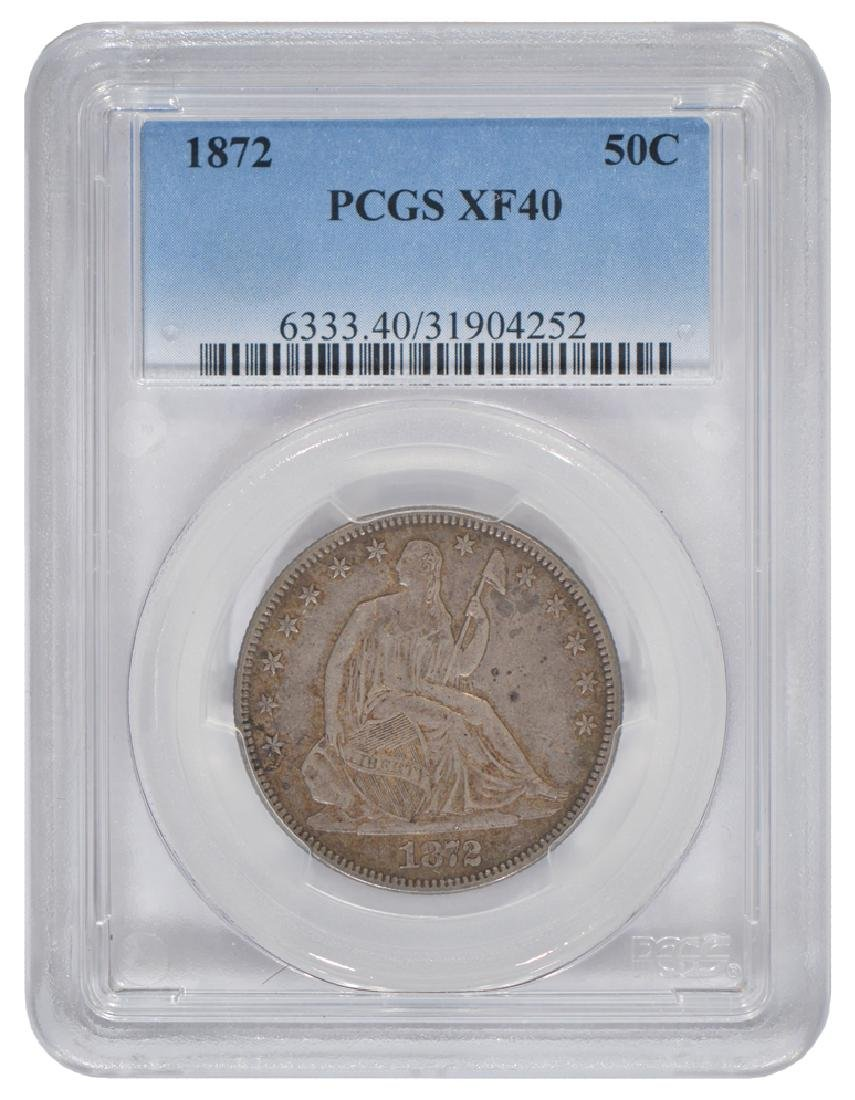 1872 Seated Liberty Half Dollar Coin PCGS XF40