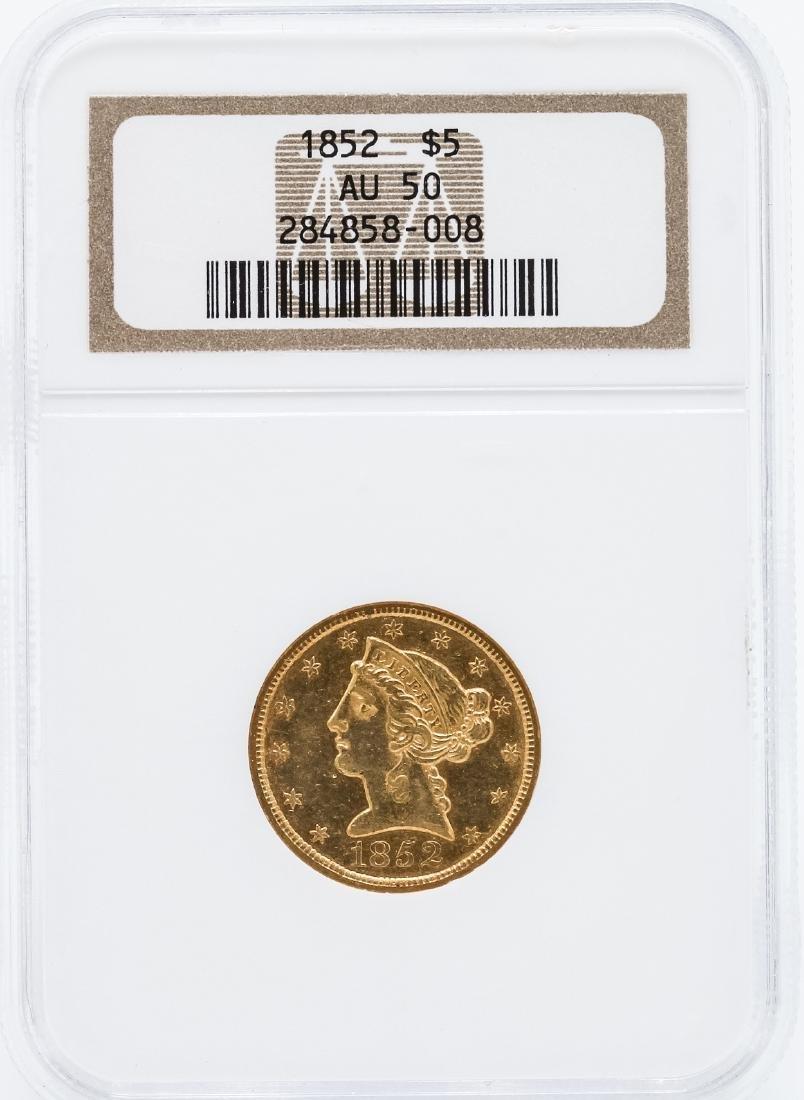 1852 $5 Liberty Head Half Eagle Gold Coin NGC AU50