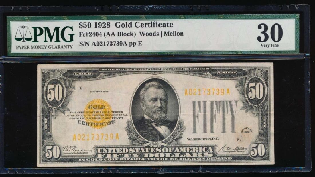 1928 $50 Gold Certificate PMG 30 Very Fine