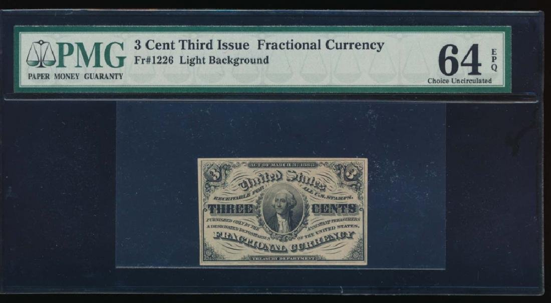 3 Cent Third Issue Fractional Note PMG 64EPQ No Serial