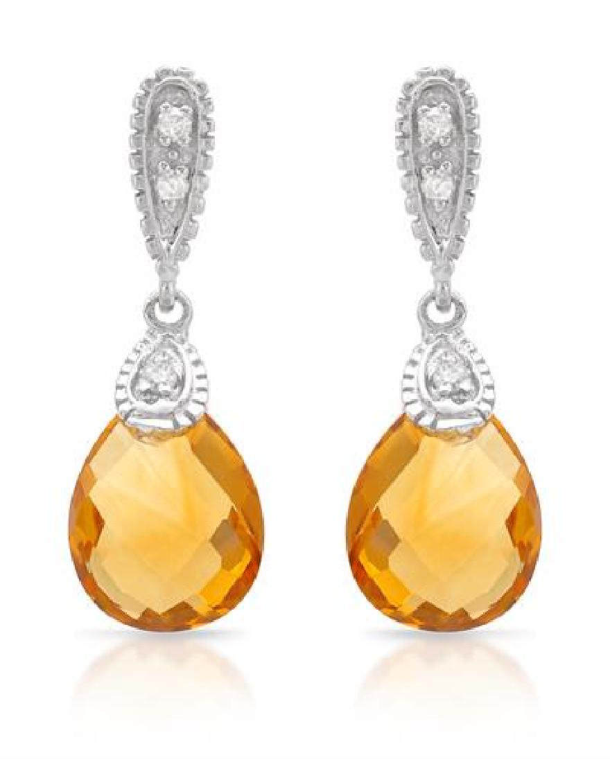 14KT White Gold 4.50ctw Citrine and Diamond Earrings