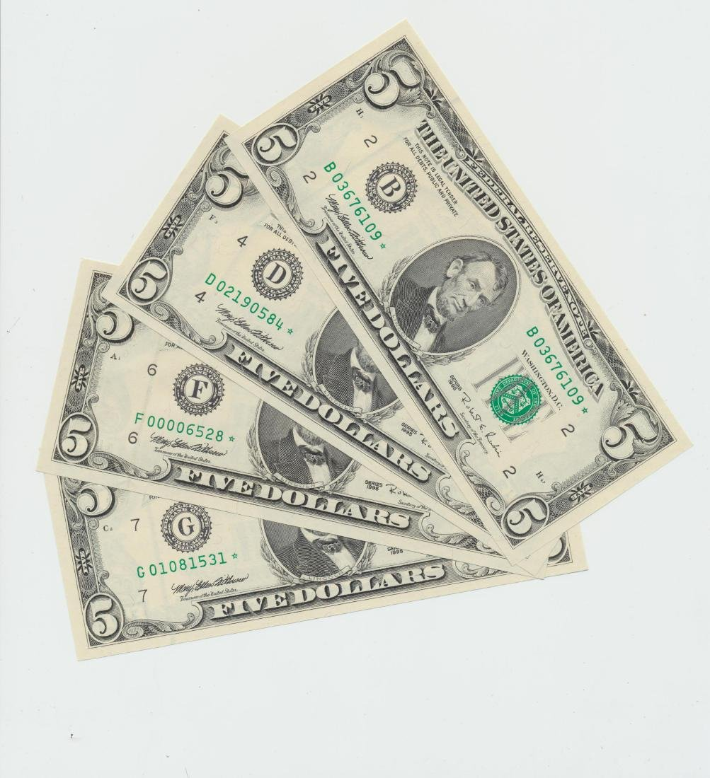 (Lot of 4) 1995 $5 Federal Reserve Star Notes