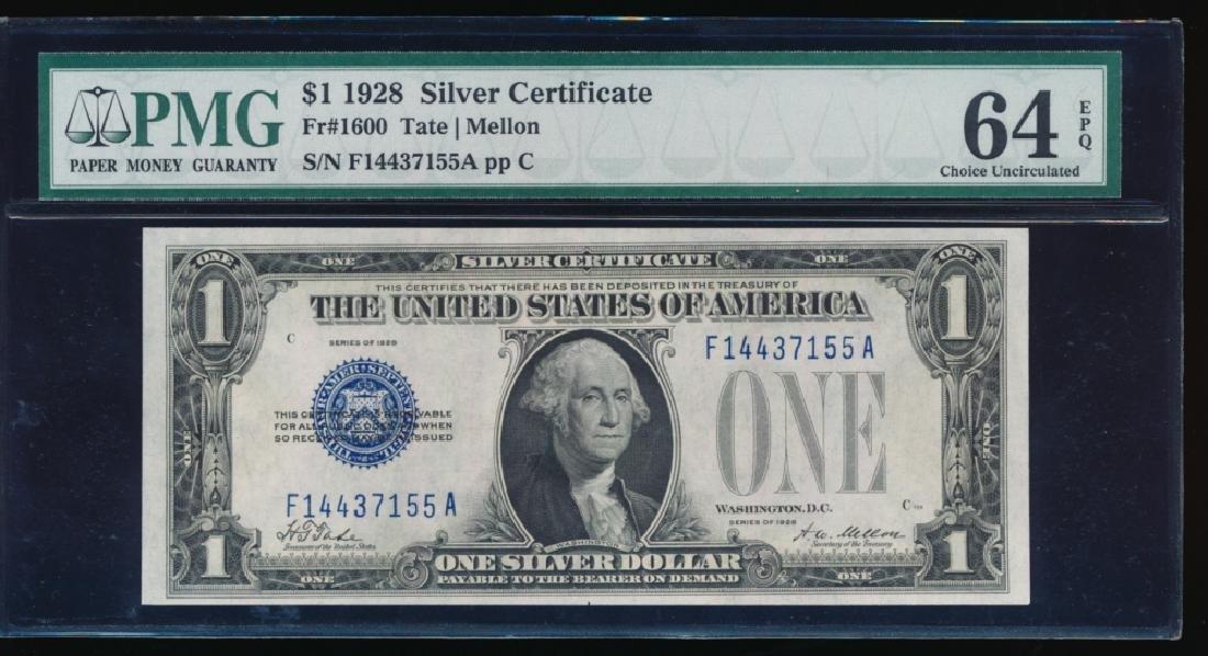 1928 $1 Silver Certificate PMG 64EPQ