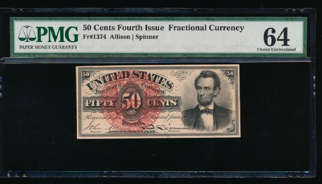 50 Cent Fourth Issue Lincoln Fractional Note No Serial