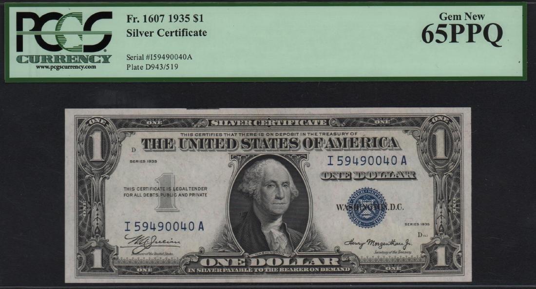 1935 $1 Silver Certificate PMG 65PPQ