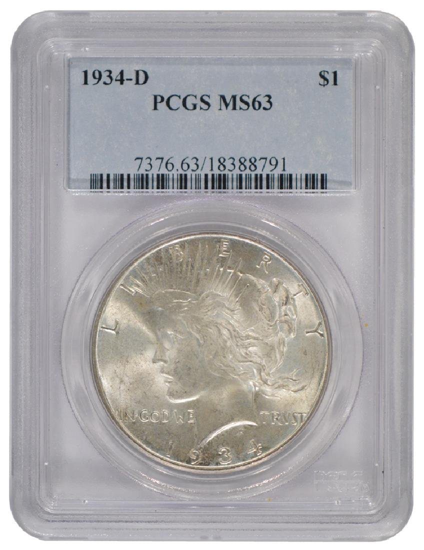 1934-D $1 Peace Silver Dollar Coin PGCS MS63