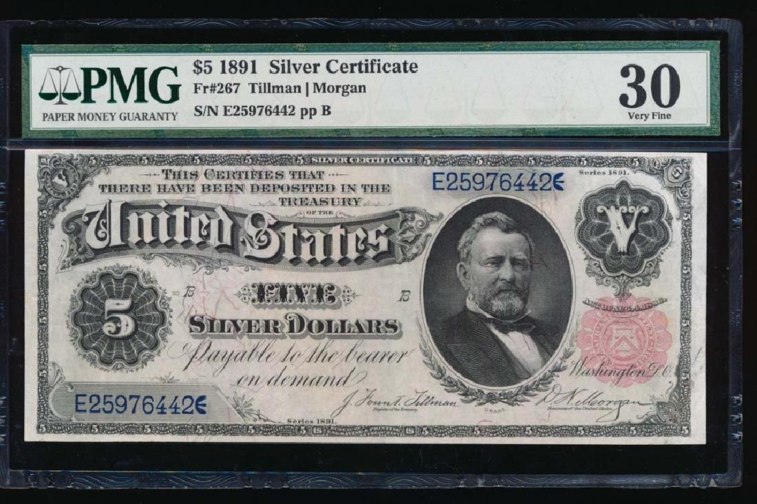 1891 $5 Silver Certificate PMG 30 Very Fine