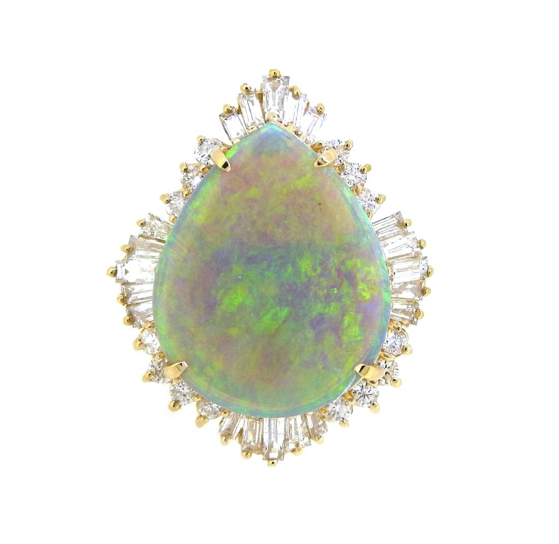 14KT Yellow Gold 17.36ct Opal and Diamond Ring