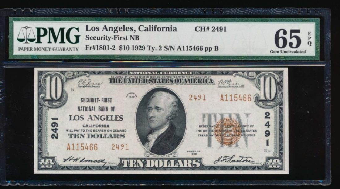 1929 $10 Nation Bank of Los Angeles Note PMG 65EPQ