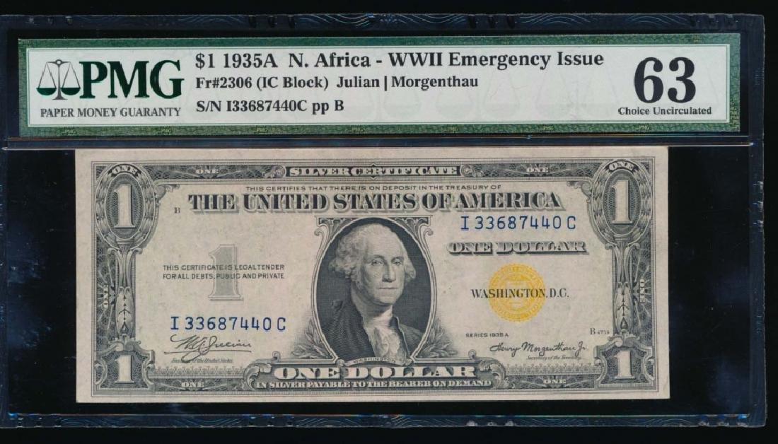 1935A $1 North Africa Silver Certificate PMG63