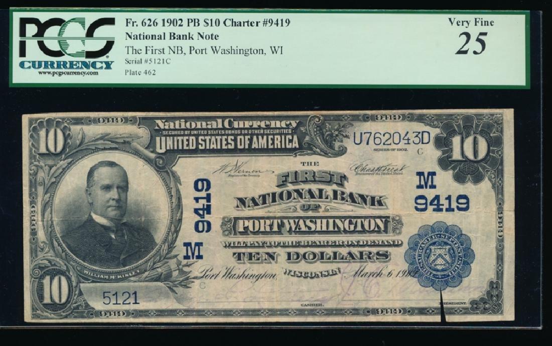 1902 $10 Port Washington National Bank Note PCGS 25