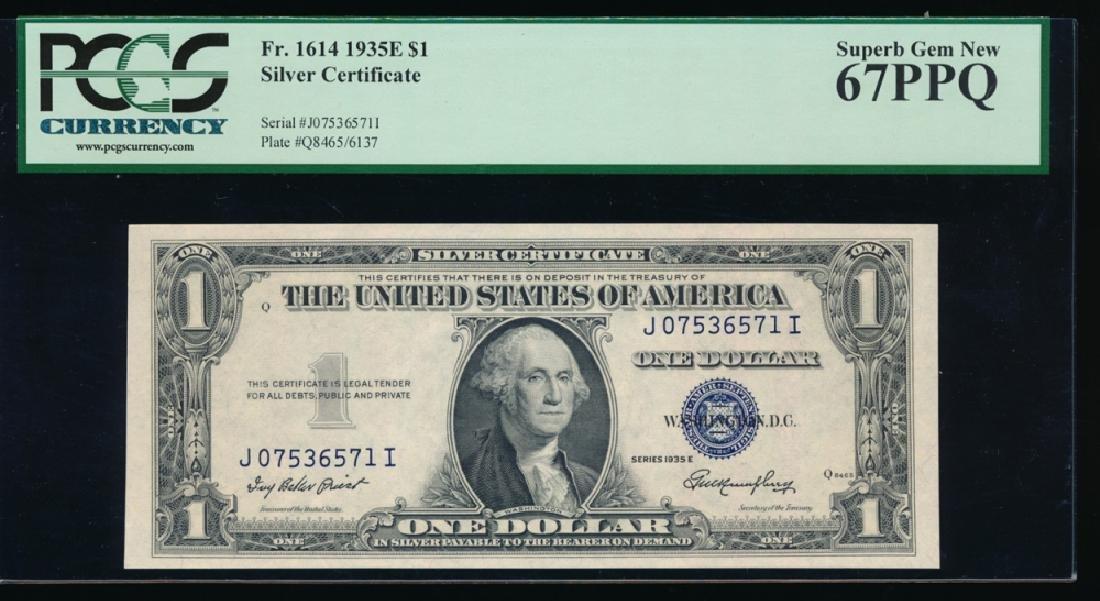 1935E $1 Silver Certificate PCGS 67PPQ