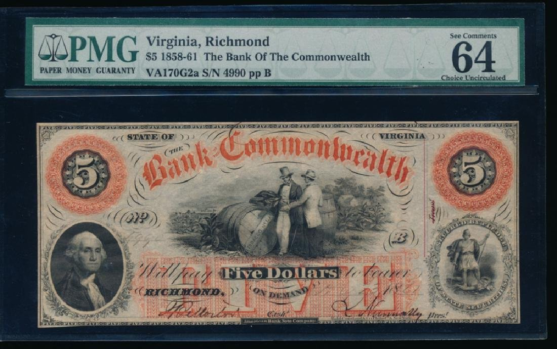 1858 $5 Bank of Commonwealth Obsolete Bank Note PMG 64