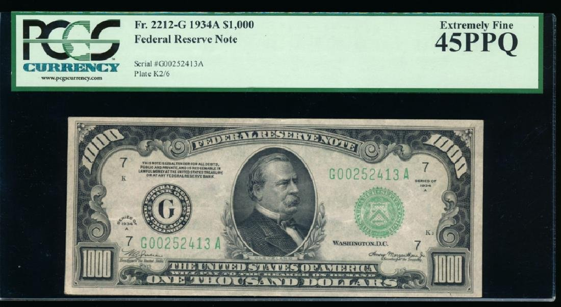 1934A $1000 Chicago Federal Reserve Note PCGS 45PPQ