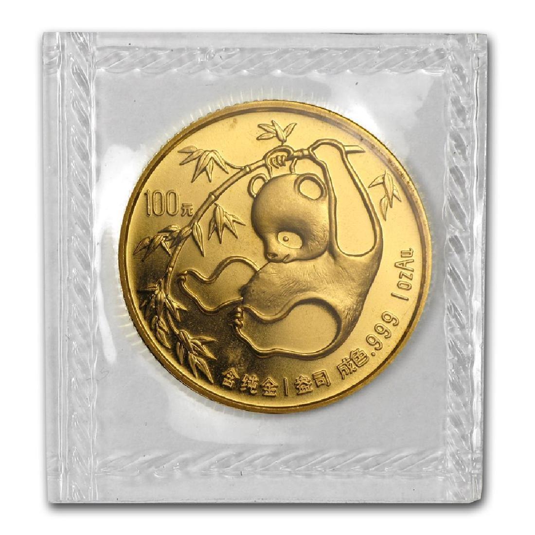 1985 China 100 Yuan Panda 1oz Sealed Gold Coin