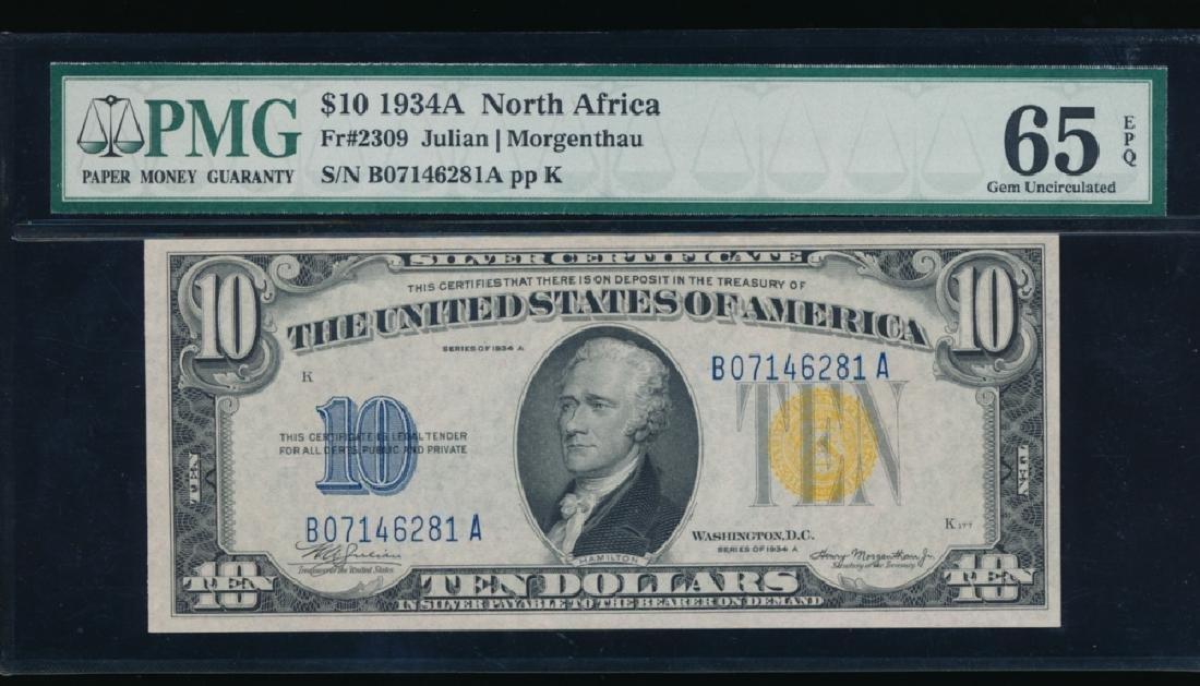 1934A $10 North Africa Silver Certificate PMG 65EPQ