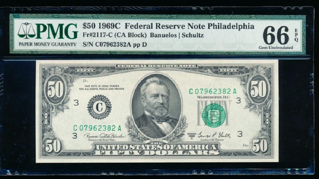 1969C $50 Philadelphia Federal Reserve Note PMG 66EPQ