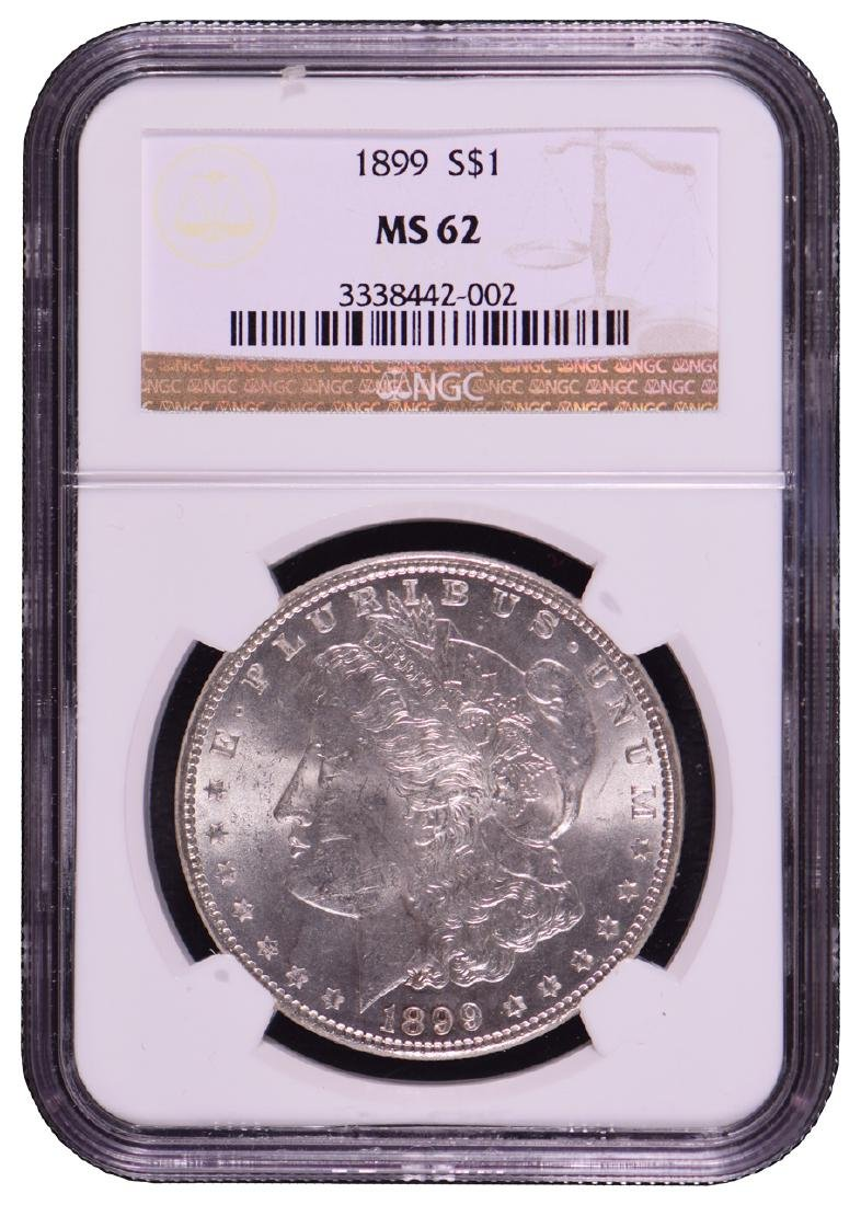 1899 $1 Morgan Silver Dollar Coin NGC MS62
