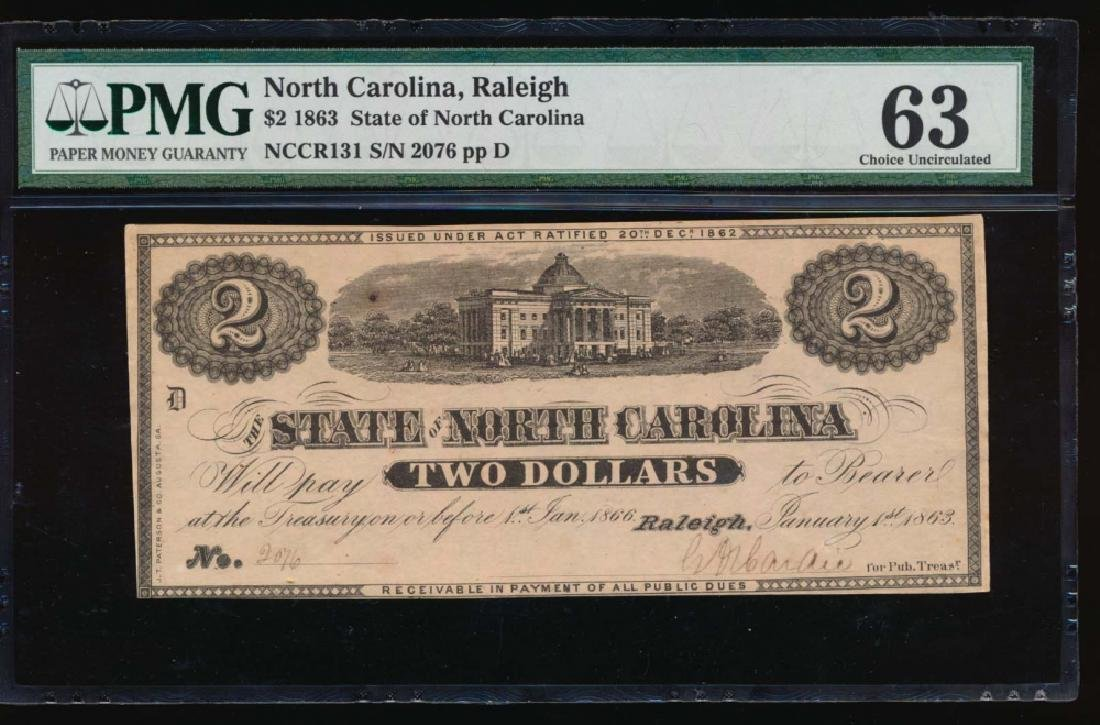1863 $2 State of North Carolina Obsolete Note PMG 63
