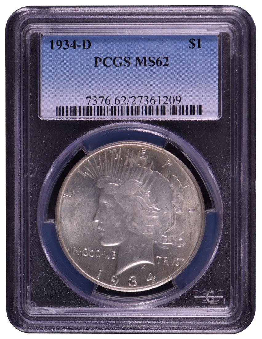 1934-D $1 Peace Silver Dollar Coin PCGS MS62