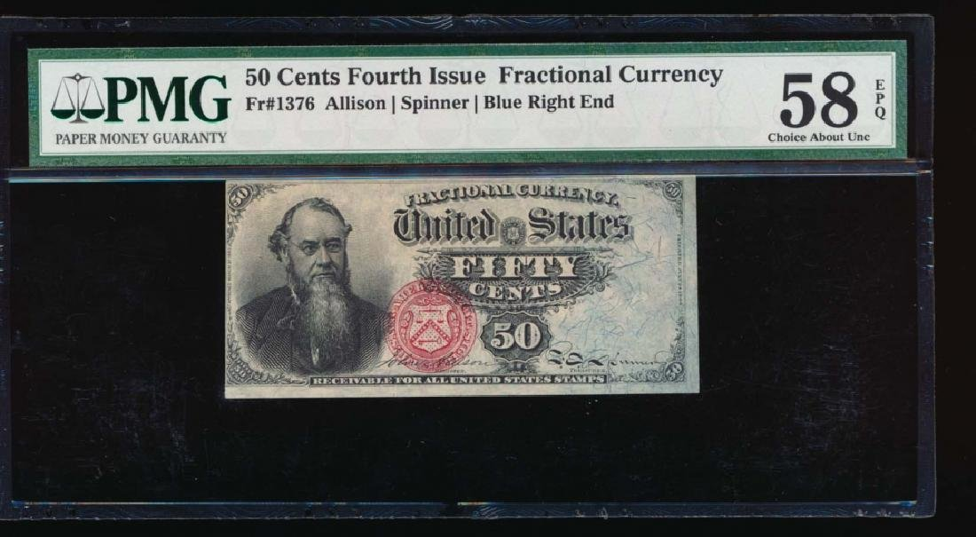 50 Cent Fourth Issue Fractional Note PMG 58EPQ No