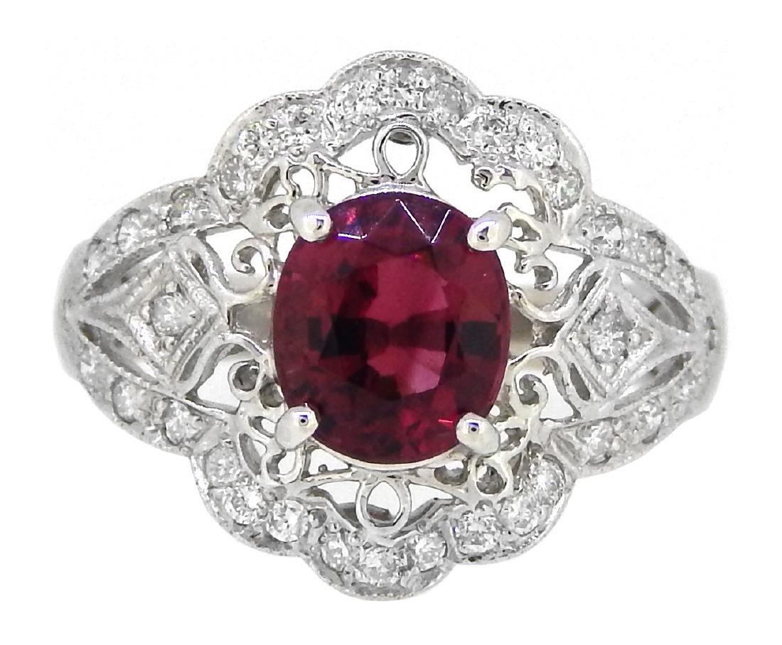 Platinum 1.84ct Tourmaline and Diamond Ring