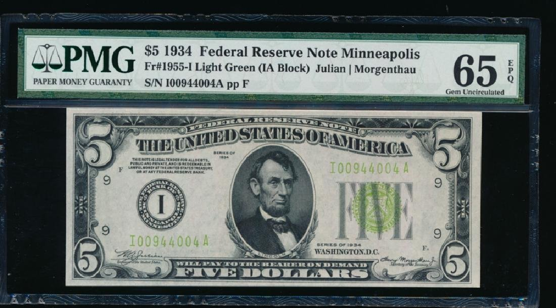 1934 $5 Minneapolis Federal Reserve Note PMG 65EPQ