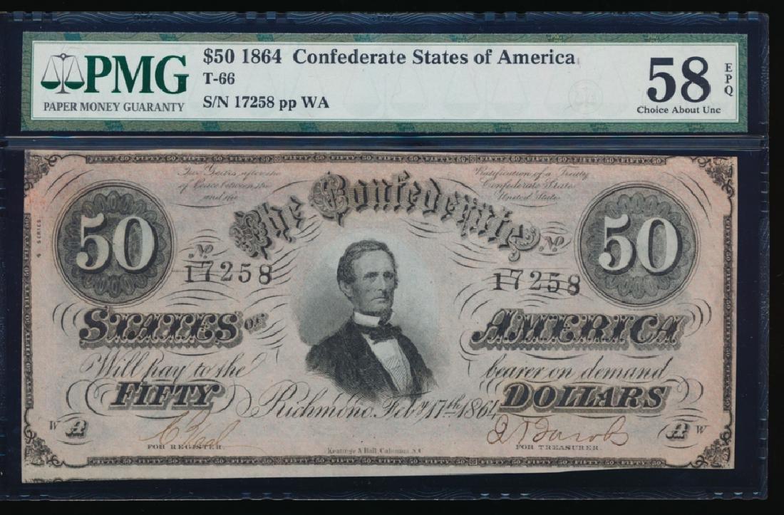 1864 $50 Confederate States of America Note PMG 58EPQ