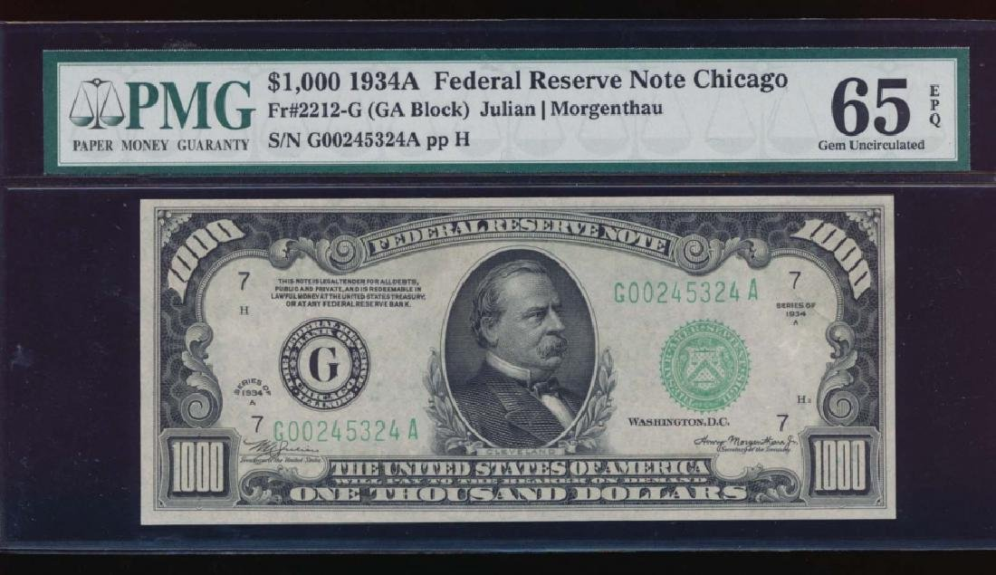 1934A $1000 Chicago Federal Reserve Note PMG 65EPQ