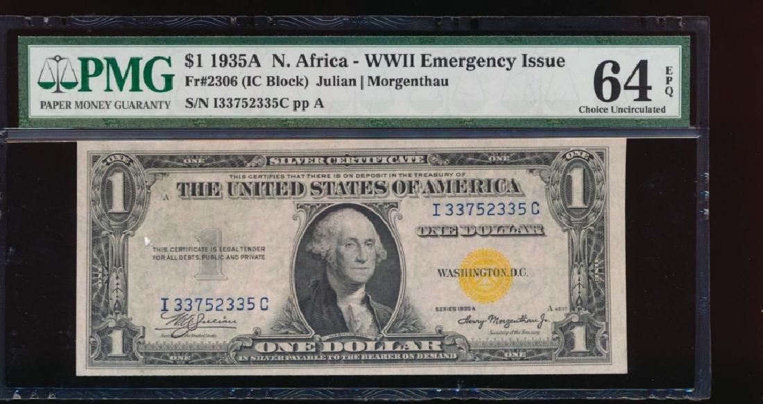 1935A $1 North Africa Silver Certificate PMG 64PPQ