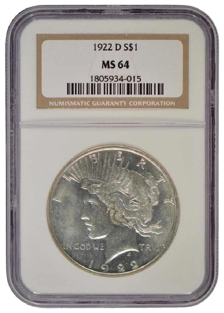 1922-D $1 Peace Silver Dollar Coin NGC MS64