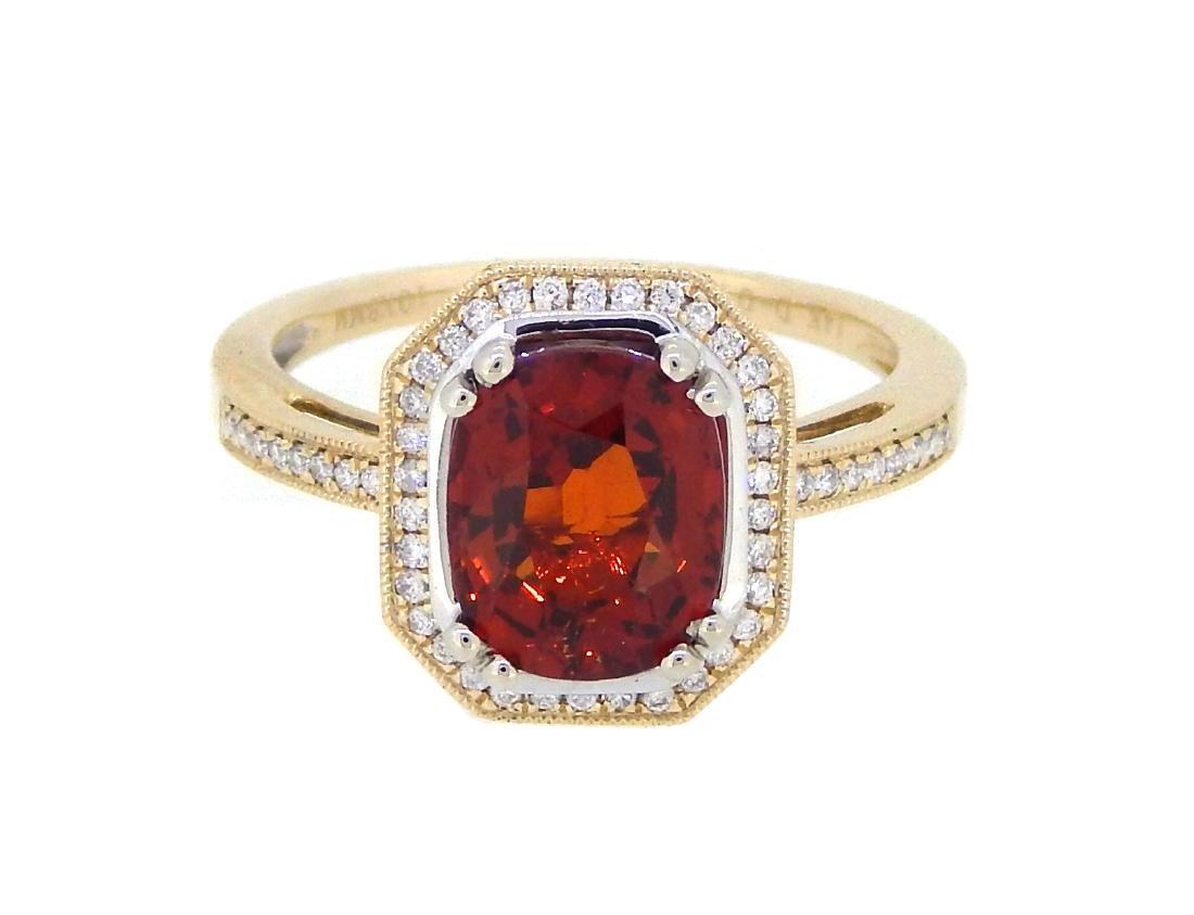 14KT Yellow Gold 2.91ct Garnet and Diamond Ring