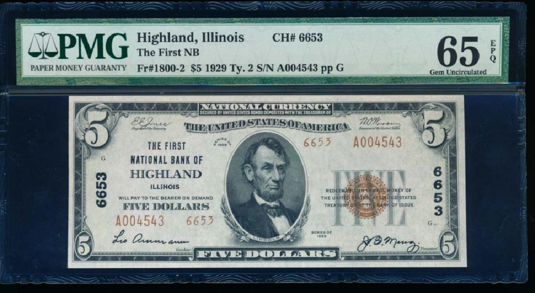 1929 $5 Highland National Bank Note PMG 65EPQ
